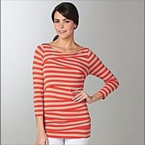 Vince Camuto Orange Tiered Stripe Jersey Small